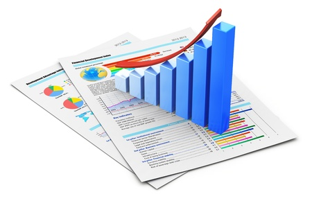 marketing research: Corporate business office financial success concept  blue growing bar chart with red arrow on documents with color graph, charts, diagrams and financial data isolated on white background  Design is my own and all text labels and numbers are fully abstract Stock Photo