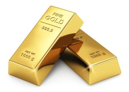 Concept de banque d'affaires financier établi des lingots d'or isolé sur fond blanc Banque d'images