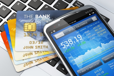 online banking: Mobile banking, finance and making money concept