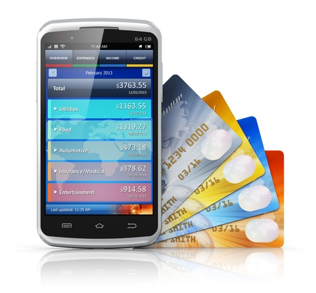 mobile shopping: Mobile banking, business finance and making money concept