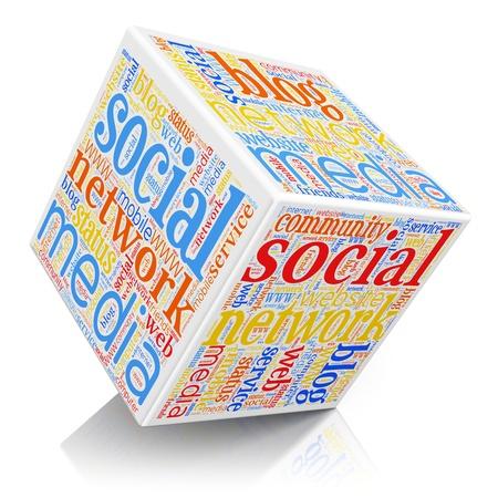 network marketing: Medios de comunicaci�n social y el cubo de redes concepto de nube de tags tecnolog�a de color aislado en el fondo blanco con efecto de reflexi�n