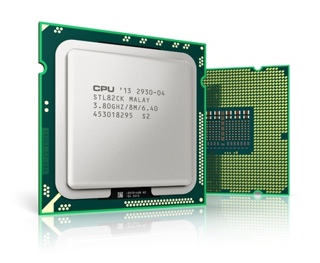 Modern central computer processors CPU isolated on white background with reflection effect  Design is my own and all text labels and numbers are fully abstract photo