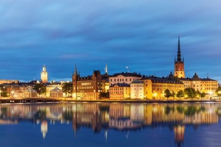 sweden: Evening summer scenery of the Old Town  Gamla Stan  in Stockholm, Sweden Stock Photo