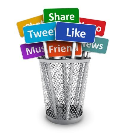 tweet icon: Los medios sociales y grupos de redes concepto de signos de color con los servicios de medios sociales en el cubo de metal de la oficina aislada en el fondo blanco