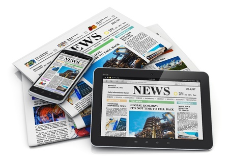 business news: Electronic internet web and paper media concept  tablet PC computer, modern black glossy touchscreen smartphone and heap of business office newspapers with financial news isolated on white background with reflection effect