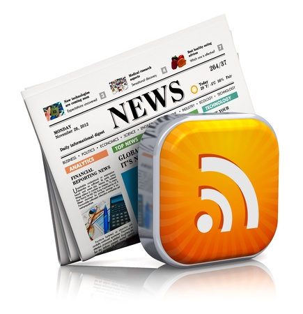 Internet news and web RSS concept  orange RSS symbol and stack of business newspapers isolated on white background with reflection effect  Design is my own and all text labels and numbers are fully abstract Stock Photo
