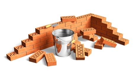 Construction and building industry concept: fragment of red brick wall, heap of bricks, trowel and metal bucket isolated on white background photo