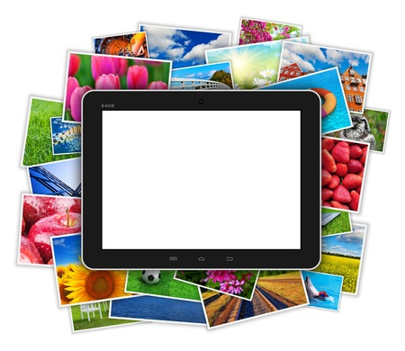colourful images: Creative internet, web and mobile digital media technology concept: blank glossy black tablet computer PC on heap of colorful photos gallery collage isolated on white background