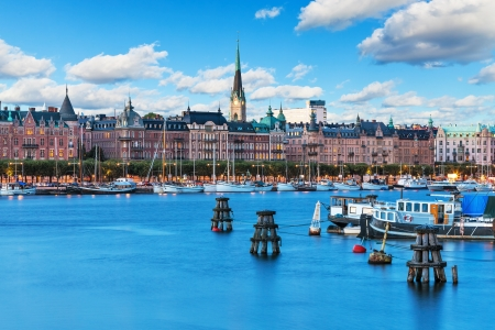 Scenic summer scenery of the Old Town in Stockholm, Sweden photo
