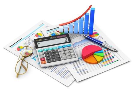 contabilidad financiera cuentas: Financiación de las empresas, impuestos, contabilidad, estadística y analítica concepto de oficina de investigación calculadora electrónica, gráfica de barras y diagramas de pastel, gafas y pluma en los informes financieros con datos de colores aislados sobre fondo blanco Diseño es mía