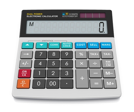 reckon: Modern office business financial electronic calculator isolated on white background Stock Photo