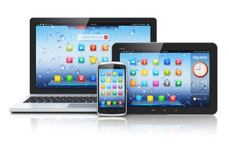 mobile device: Mobile devices, mobility and telecommunication concept  metal business laptop or office notebook, tablet PC computer and modern black glossy touchscreen smartphone with colorful interface with application icons isolated on white background with reflection
