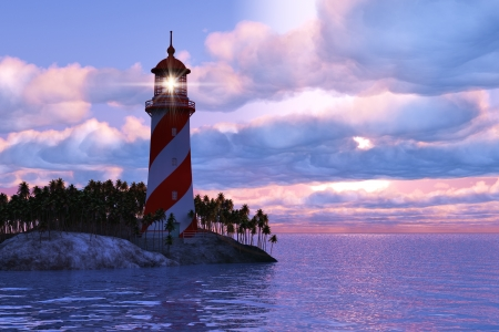 Beautiful scenery of dramatic sunset with lighthouse on island in sea photo