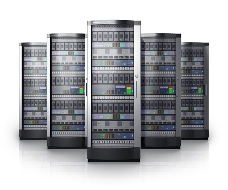 Row of network servers in data center isolated on white background with reflection effect  Design is my own and all text labels and numbers are fully abstract photo