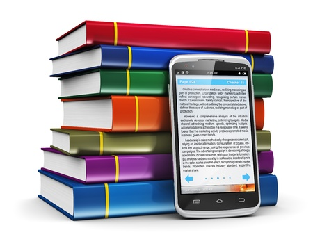 Electronic book media, education and literature reading concept  modern glossy business touchscreen smartphone with book reading application with text and stack of color hardcover books isolated on white background  Design is my own and text is abstract