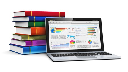 Mobile knowledge, school or college education, business office work and electronic media concept  laptop or notebook with corporate financial bar graphs and charts and stack of color hardcover books isolated on white background  Design is my own photo