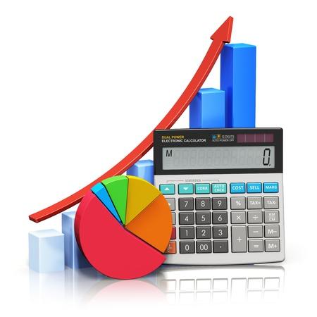 電卓: ビジネス経済的な成功、税および会計、統計と分析的研究コンセプト事務所の電子計算機、バー グラフとパイ図の反射効果で白い背景で隔離