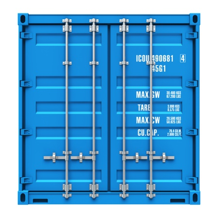 Side profile view of blue cargo freight container isolated on white background Design is my own and all text labels are fully abstract