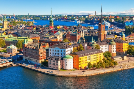 town halls: Scenic summer aerial panorama of the Old Town  Gamla Stan  in Stockholm, Sweden Stock Photo
