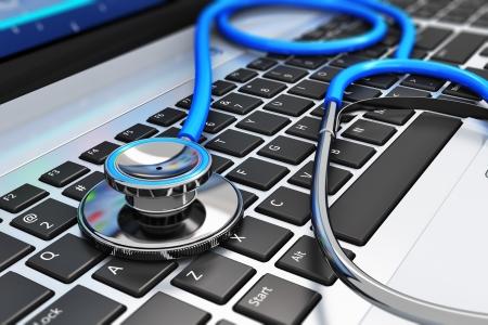 개인 정보 보호: 의료 및 의학 또는 컴퓨터 바이러스 백신 보호 및 선택적 포커스 효과 비즈니스 사무실 노트북 노트북 키보드에 파란색 청진 기의 수리 유지 보수 서비스 개념 매크로보기