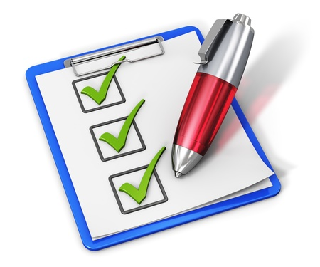 ballpoint: Business office corporate service concept  checklist with green checkmarks on clipboard and red ballpoint pen isolated on white background