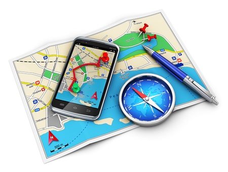 Mobile GPS navigation, travel and tourism concept  modern black glossy touchscreen smartphone with GPS navigation application, magnetic compass, pen and group of pushpins on city map isolated on white background  Design is my own and all text is abstract photo