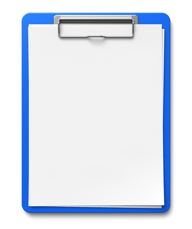 Business office concept: clipboard with blank sheets of paper isolated on white background photo