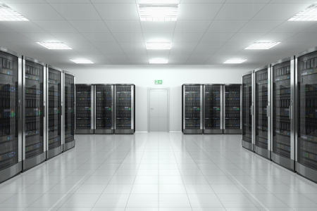 server farm: Modern network and communication concept: server room in datacenter