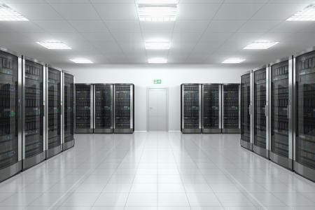postazione lavoro: Rete moderna e il concetto di comunicazione: sala server nel datacenter Archivio Fotografico