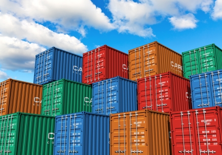 Stacked cargo containers in storage area of freight sea port terminal Stock Photo - 18235580