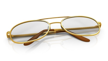 Golden eyeglasses isolated on white background with reflection effect Stock Photo - 18269985