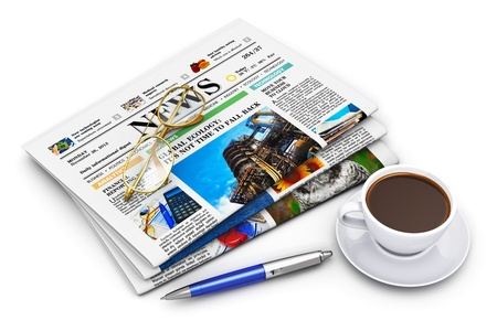 Office morning news reading concept: stack of business color newspapers with financial news, cup of black coffee, ballpoint pen and golden glasses isolated on white background photo