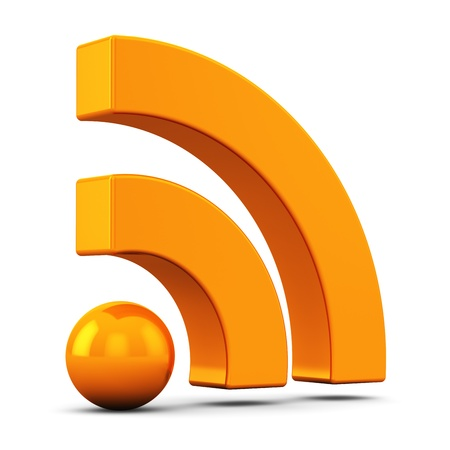 newsgroup: Internet web communication concept: 3D orange RSS symbol, icon or button isolated on white background