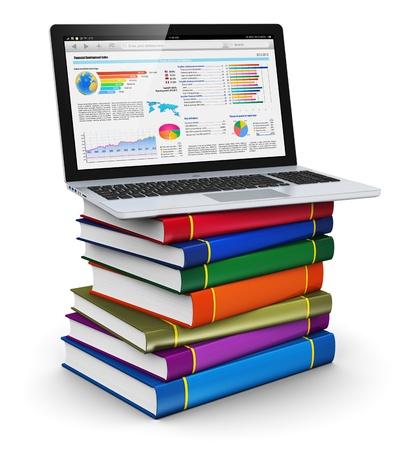 흰색 배경에 고립 된 컬러 하드 커버 책의 스택에 기업 재무 막대 그래프와 차트의 휴대용 퍼스널 컴퓨터 노트북 스톡 콘텐츠