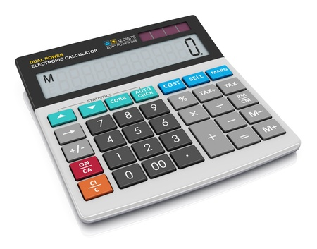 Modern office business financial electronic calculator isolated on white background Stock Photo - 18459571