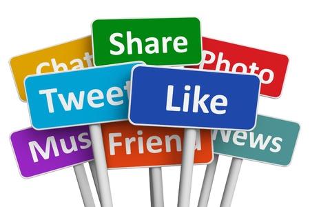 interaccion social: Los medios sociales y grupos de redes concepto de signos de color con los servicios de medios sociales aislados sobre fondo blanco