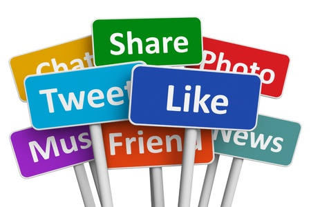 sharing: Social media and networking concept  group of color signs with social media services isolated on white background Stock Photo