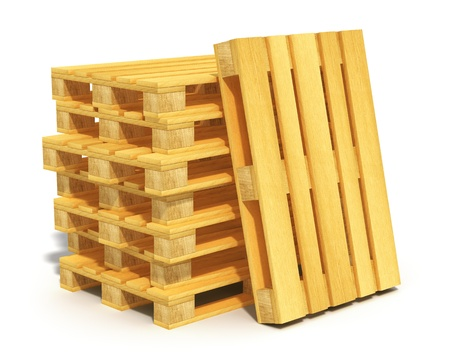 Logistics, cargo transportation and freight shipment concept  stack of wooden shipping pallets isolated on white background photo