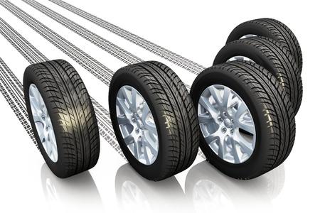 neumaticos: Concepto creativo automotriz conjunto de ruedas de coche con las impresiones de neumáticos aislados en fondo blanco con efecto de reflexión Foto de archivo