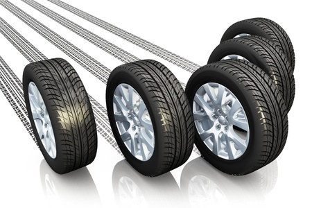 Creative automotive concept  set of car wheels with tyre prints isolated on white background with reflection effect