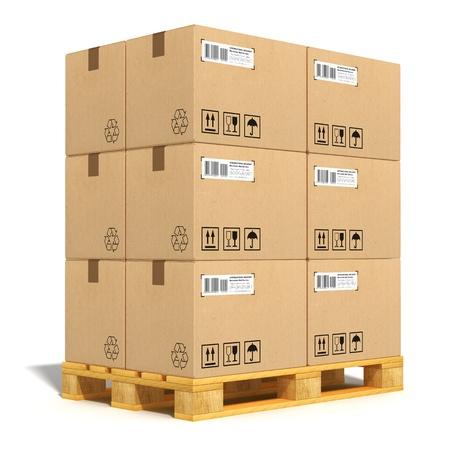 boite carton: Notion industrie du fret, la livraison et le transport des cartons empil�s sur la palette d'exp�dition en bois isol� sur fond blanc