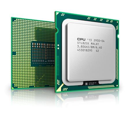 Moderne ordinateur central CPU processeurs isolé sur fond blanc avec effet de réflexion