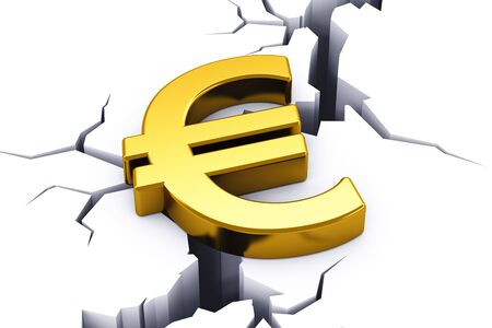 tending: Political and economical concept: financial crisis in European Union - golden shiny Euro currency symbol tending to drop down into opening crack in white ground
