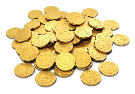 Business, banking, making money and financial success and stability concept: heap of shiny golden coins isolated on white background photo