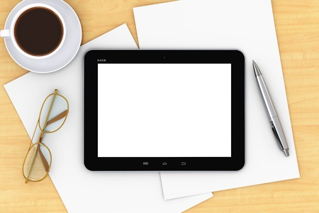 beverage display: tablet computer PC with white empty blank screen, pen, golden eyeglasses and porcelain cup Stock Photo