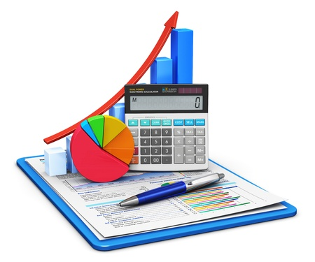 Business finance, tax, accounting, statistics and analytic research concept  office electronic calculator, bar graph and pie diagram and pen on financial reports in clipboard with colorful data isolated on white background  All texts are abstract photo