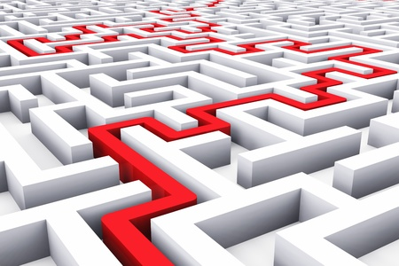 Creative success, marketing, strategy and motivation concept  red path across endless white labyrinth photo