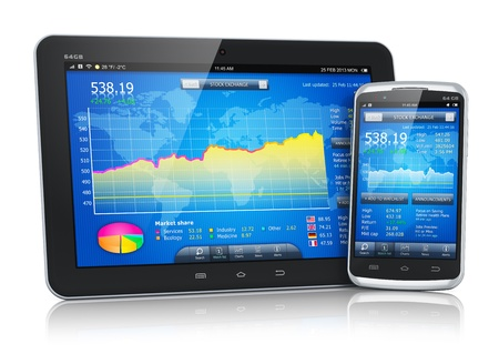 online trading: stock exchange market application on modern black glossy touchscreen smartphone and tablet PC computer isolated on white background Stock Photo