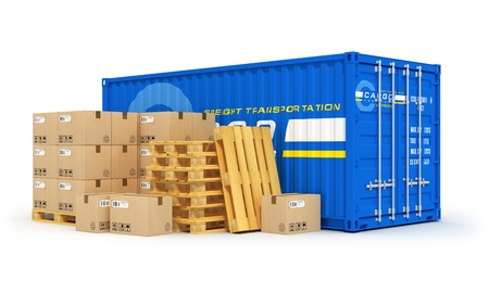 Cargo, freight transportation, shipping, logistics, delivery and distribution concept: blue metal cargo container and stacks of cardboard boxes on wooden shipping pallets isolated on white background. Design is my own and all text labels are abstract Stock Photo - 18837958