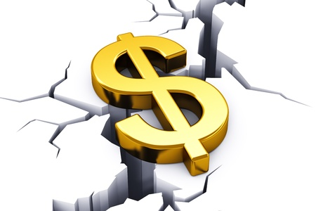 break down: Business financial crisis concept: golden shiny dollar currency symbol tending to drop down into opening crack in white surface Stock Photo